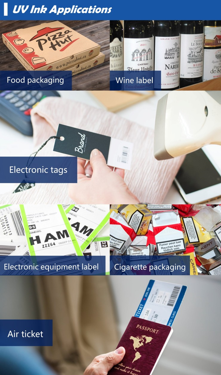 uv ink applicantions : for packaging 、labels、tags、tickets、cards